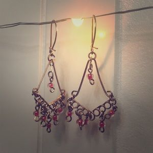 Red glass hanging earrings with clasp back